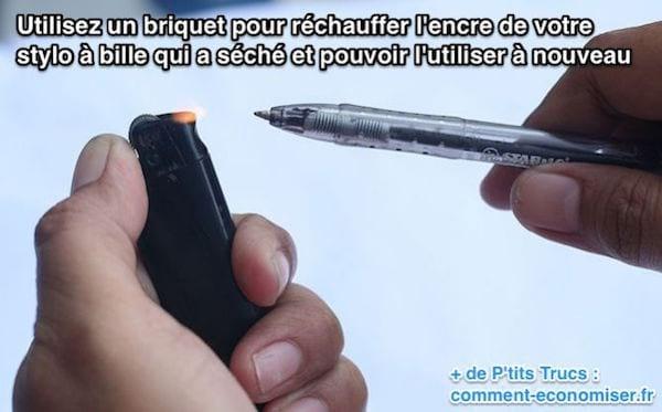 Utilisez un briquet pour réchauffer l'encre de votre stylo à bille qui a séché et pouvoir l'utiliser à nouveau