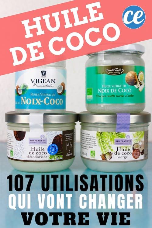 107 utilisations et bienfaits de l'huile de noix de coco pour la santé, la maison, la cuisine, l'alimentation.