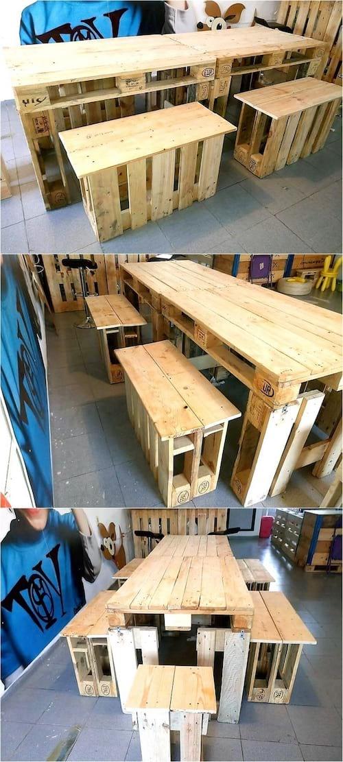 table haute et tabouret en palette