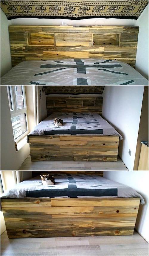 tete de lit en palette avec rangement