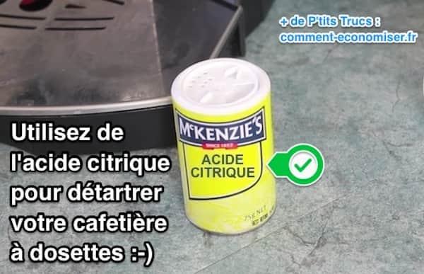 L'acide citrique détartre les machines à café à dosettes