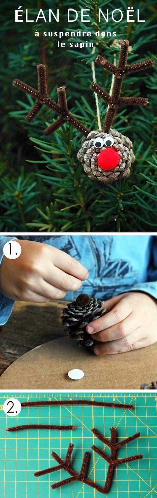 création de noel avec pomme de pin