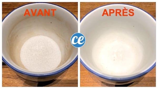 tasse avec des traces de thé puis après tasse propre grâce à l'acide citrique