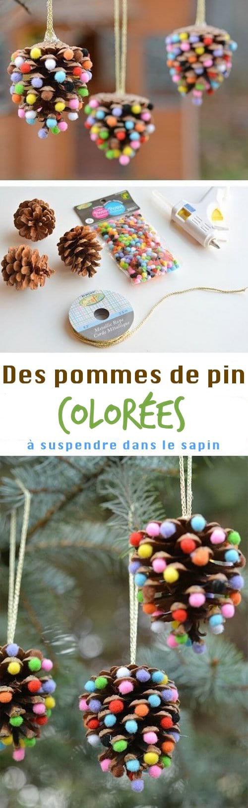 boule de noel avec pomme de pin colorées