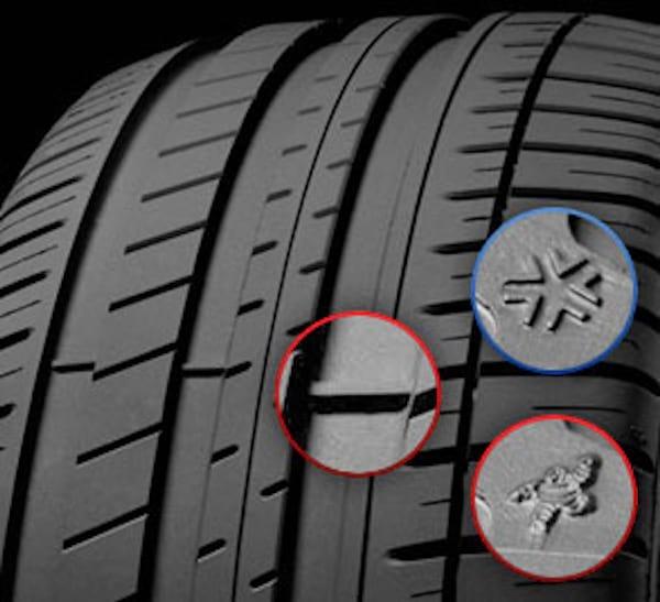 Les témoins d'usure permettent d'évaluer la limite minimale d'utilisation de vos pneus.