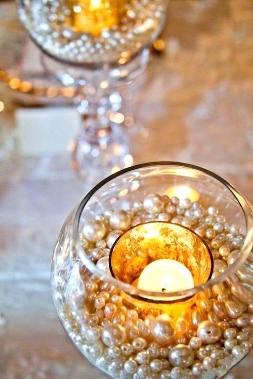 photophore avec perle pour mariage ou noel