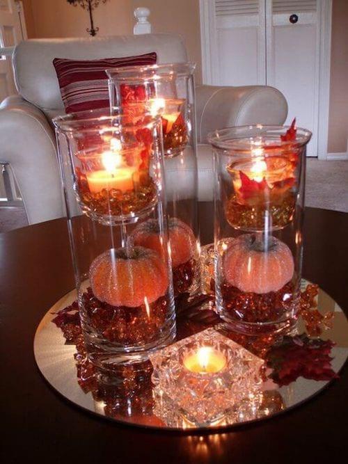 déco de fetes noel halloween avec citrouille et bougies