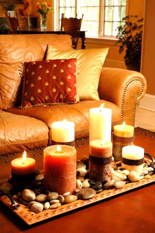 bougies et galets coloés