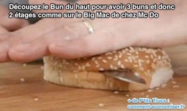 Voici l'astuce pour découper le buns de son burger pour avoir un Big Mac à 2 étages.