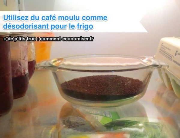 Utilisez du cafe moulu pour désodoriser le frigo