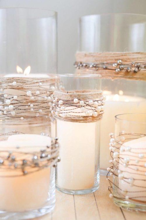 décoration photophore avec fil perlé