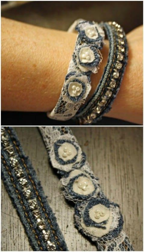 fabriquer un bracelet avec un vieux jean