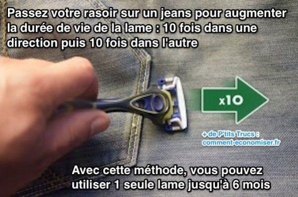 8b6f1df7999 ... économiser beaucoup d argent   Passez votre rasoir sur un jeans pour  augmenter la durée de vie de la lame