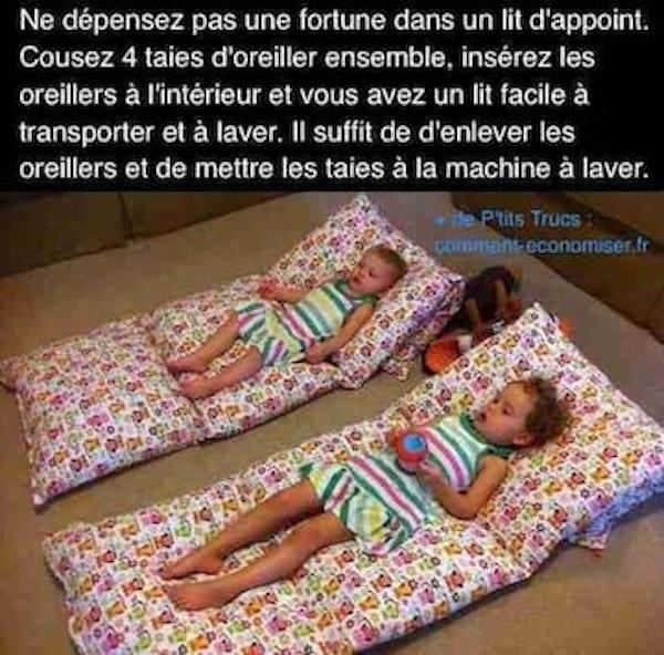 Un matelas pour enfants fait-maison.