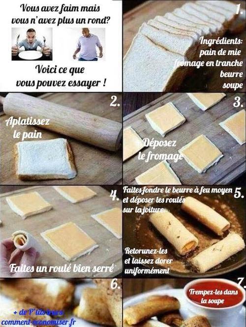 recette en 5 minutes avec du pain et du fromage