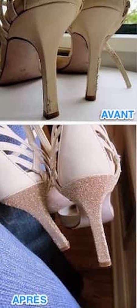 talons d'escarpins abimés puis reparés facilement