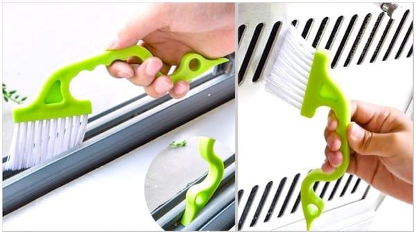 Utilisez cette brosse pour nettoyer les saletés tenaces des rails de fenêtres et de douche.