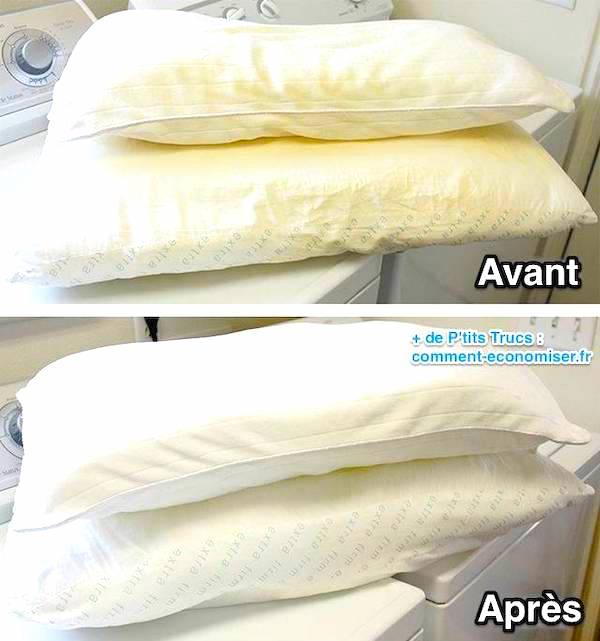 Voici le tuto facile pour laver et blanchir les oreillers qui ont jauni.