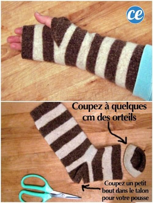 mitaines faites avec des chaussettes recyclées