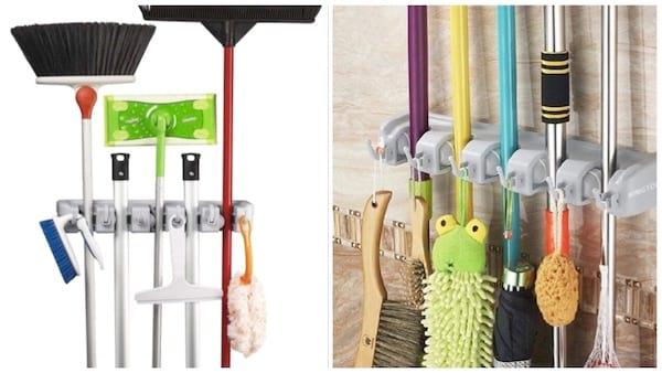 Utilisez ce porte-balais mural pour ranger les balais et éviter la moisissure sur les serpillières.