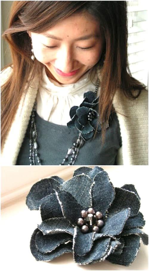broche fleur diy avec jean