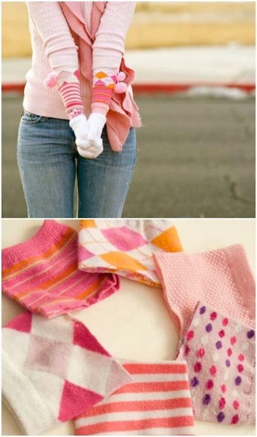 gants d'hiver longs faits avec des chaussettes orphelines recyclées