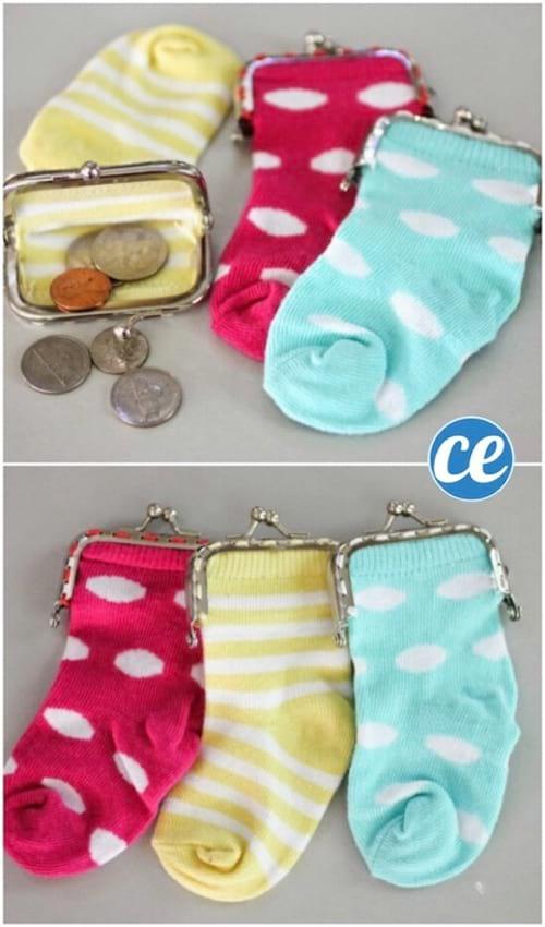 Petit porte -monnaie fait avec des chaussettes orphelines recyclées