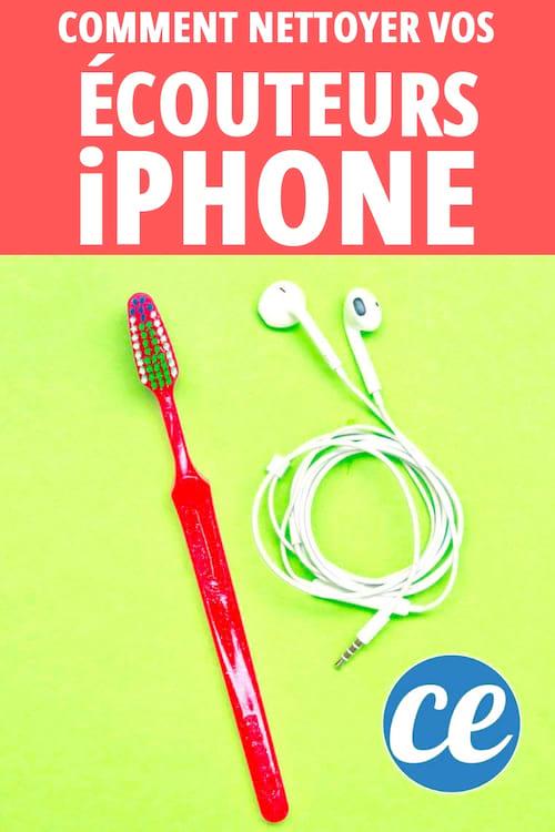 Nettoyez les écouteurs sales d'iPhone avec une vieille brosse à dents et de l'alcool à 70º.