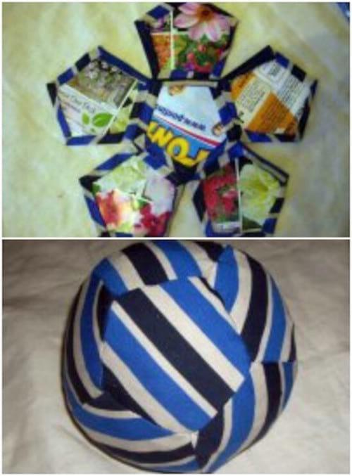 création d'un ballon de foot fait avec des chaussettes recyclées