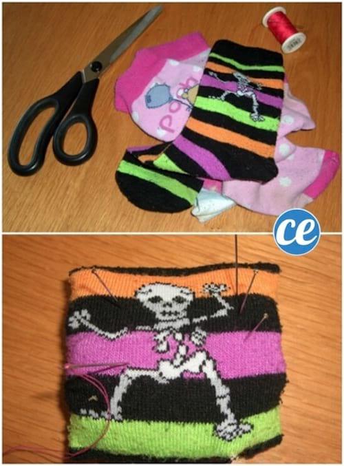 création d'un coussin à épingles fait avec des chaussettes recyclées