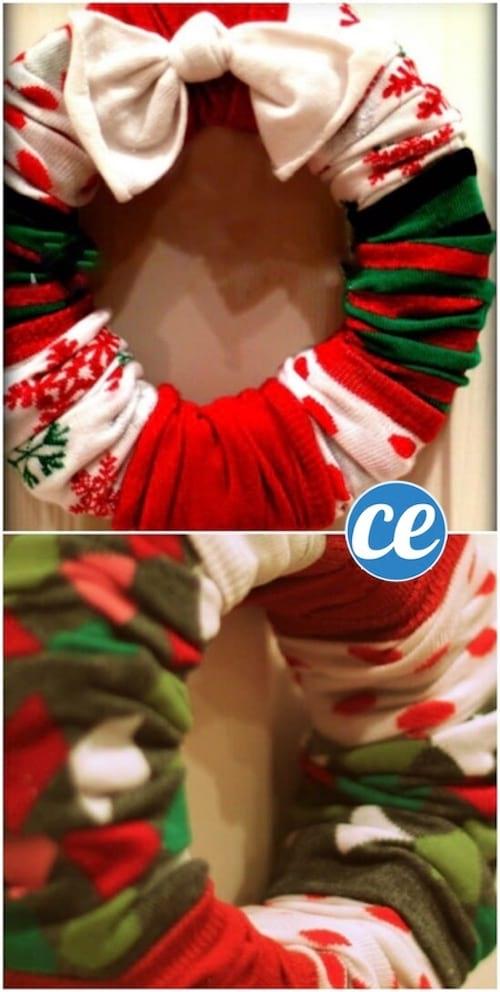 une couronne de Noël faite avec des chaussettes recyclées