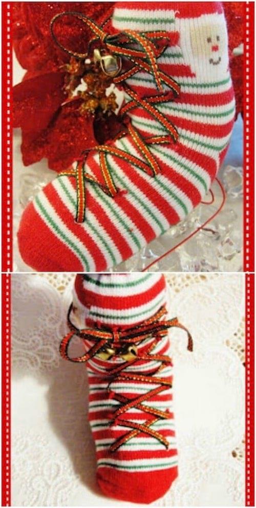 Recyclage d'une chaussette en chaussette décorative pour Noël