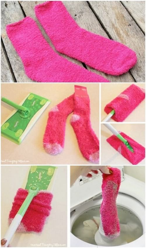 des chaussettes recyclées en lingettes swiffer