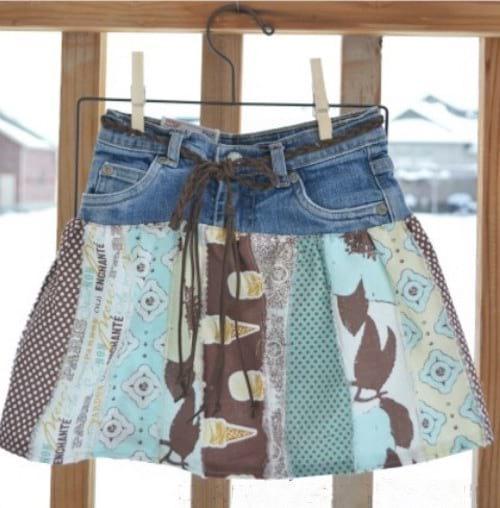 mini jupe pour enfant avec jean recyclé