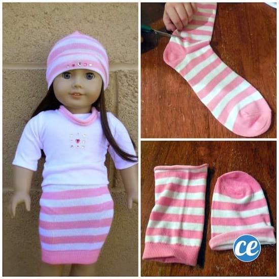 Chaussette célibataire recyclée en habit pour poupée