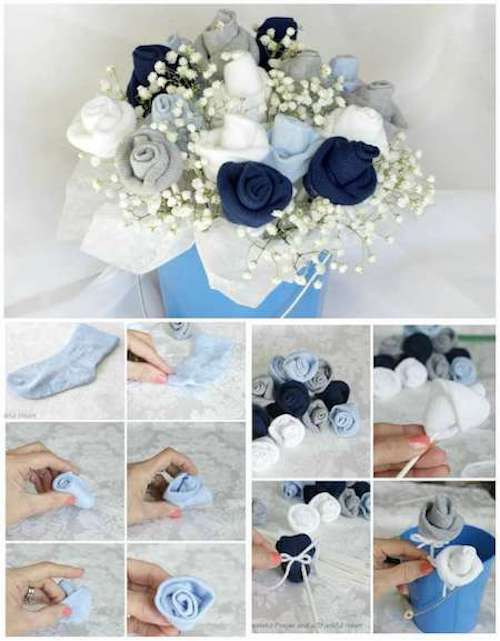 bouquets de fleurs fait avec des chaussettes