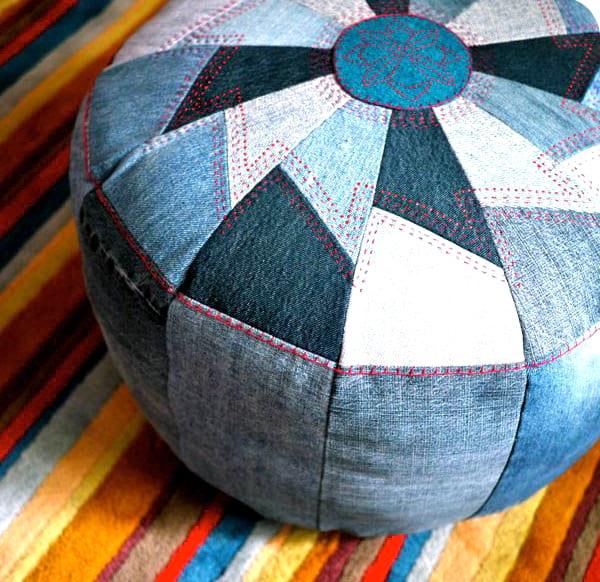 fabriquer un pouf avec du jean