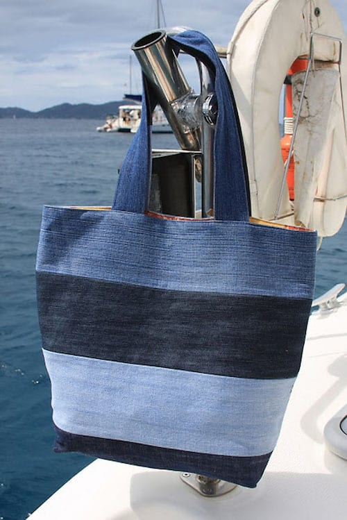 sac de plage diy avec du jean