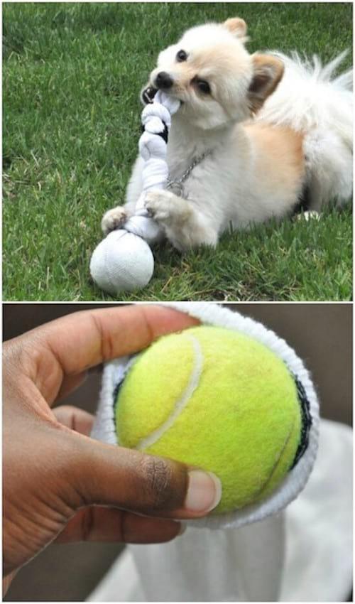 Un jouet pour les chiens fait maison avec une vieille chaussette recyclée