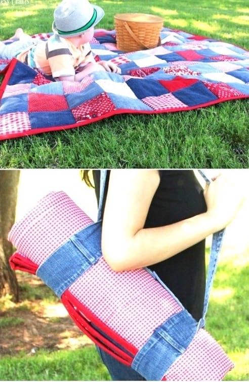 tapis de sol patchwork en jean recyclé diy