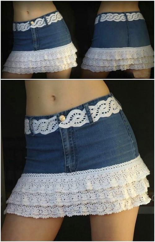 jupe en jean avec dentelle faite main