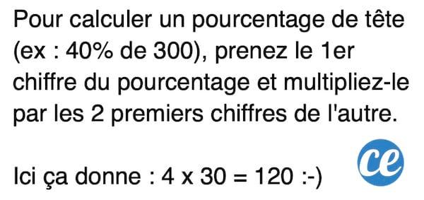 L'astuce pour calculer un pourcentage de tête facilement sans calculette