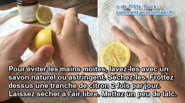 comment éviter les mains moites en mettant du citron et du talc