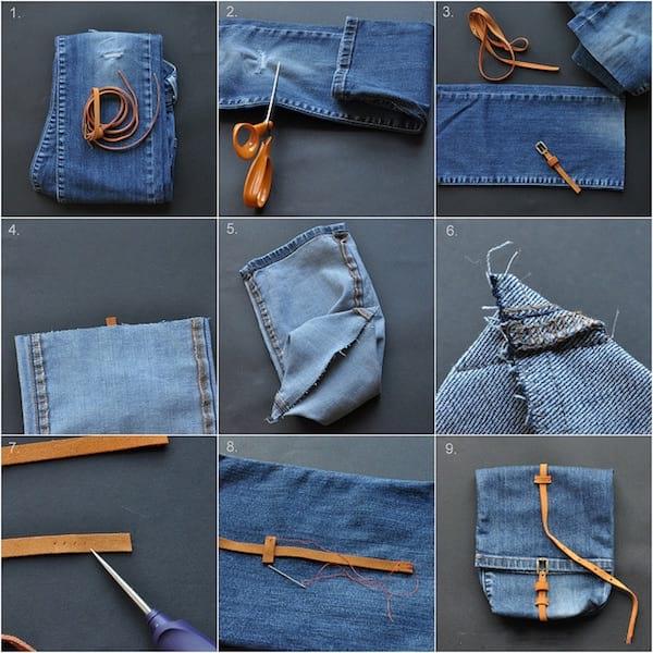 étape pour fabriquer une besace en jean