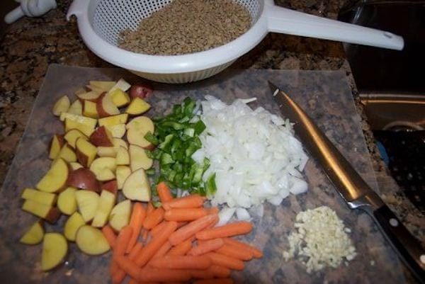 Ingrédients pour la soupe aux lentilles