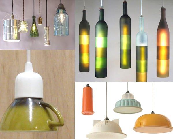 suspension lumineuse avec bouteilles en verre diy