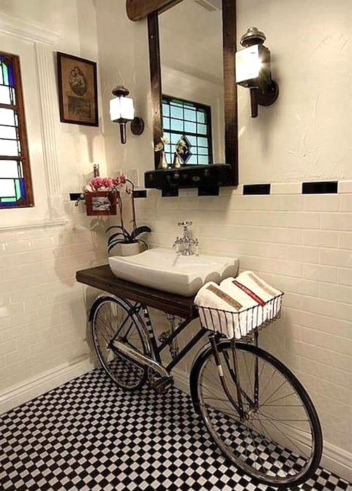 meuble de salle de bain bicyclette