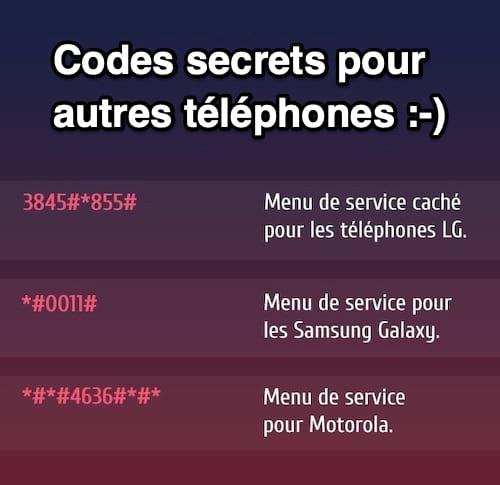 3 codes secrets pour téléphones portables LG, Samsung et Motorola qui donnent accès à des fonctions cachées