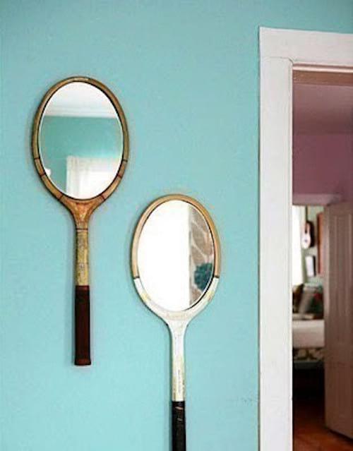 raquette de tennis transformée en miroir diy