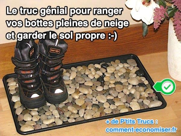 le truc g nial pour ranger vos bottes pleines de neige et garder le sol propre. Black Bedroom Furniture Sets. Home Design Ideas
